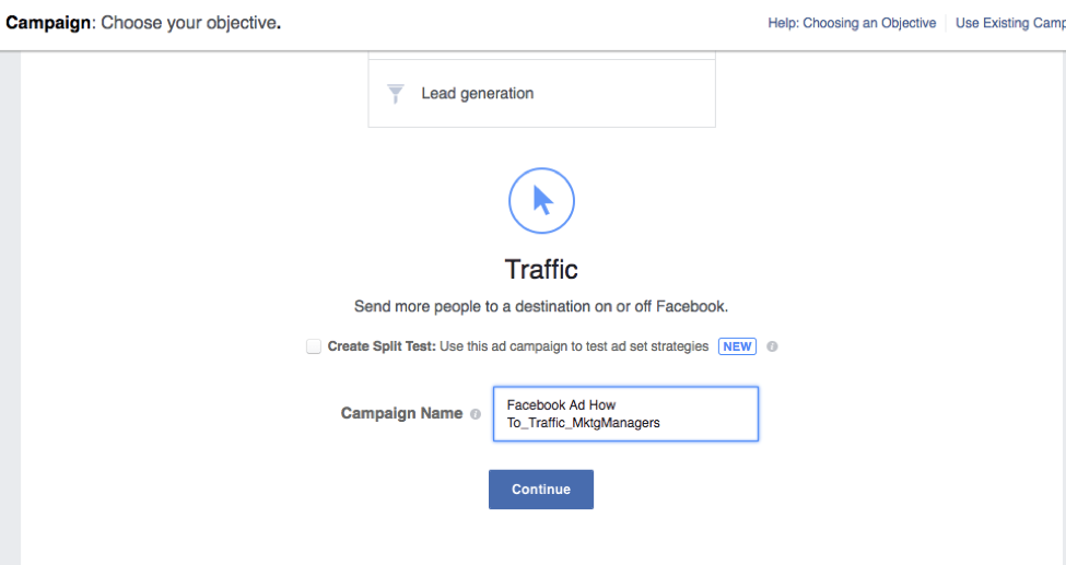 Example on how to name campaigns for Facebook Ads.
