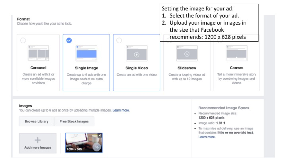 Selecting and image for your Facebook ads.