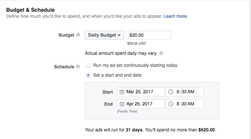 Setting a budget for Facebook ads.