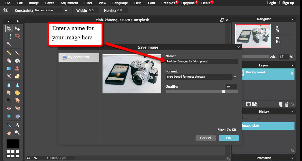 Resizing Images for WordPress Name